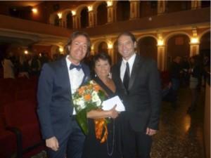 Giuseppe Livoti a Castellaneta insieme alla  Presidente della Fondazione Rodolfo Valentino – Annamaria Galgano e al cantante Graziano Galatone